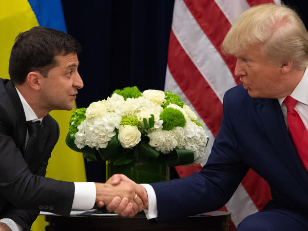 President Trump and Ukrainian President Volodymyr Zelenskiy shake hands during a meeting in New York on Sept. 25, on the sidelines of the United Nations General Assembly.