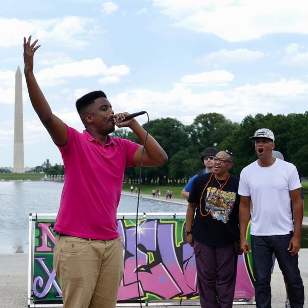Triangle-based hip-hop artist (J) Rowdy performing in Washington, D.C.