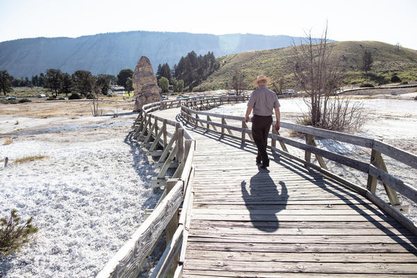 Former Yellowstone National Park Superintendent Dan Wenk on the boardwalks of Mammoth Hot Springs.