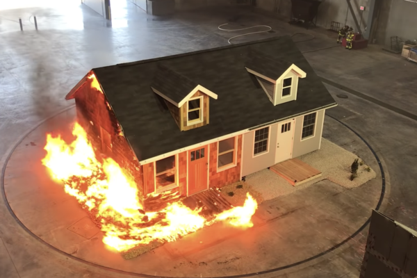 A demonstration by the Insurance Institute for Business and Home Safety shows the effects of embers on a traditionally-built home compared to one designed for fire resistance.