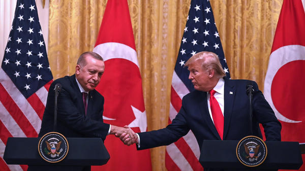President Trump and Turkey's President Recep Tayyip Erdogan take part in a joint news conference during Erdogan's visit to the White House on Wednesday.