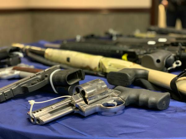 Weapons confiscated by Project Safe Neighborhoods Missoula County over the previous year, shown during a press conference, May 29, 2019.