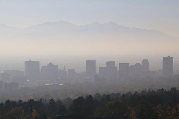 Smog settles over Salt Lake City, Utah, in November 2016.