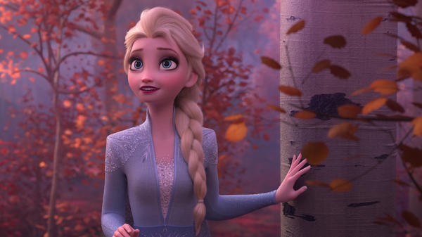 Elsa (voiced by Idina Menzel) is headed for a fall in <em>Frozen II</em>.