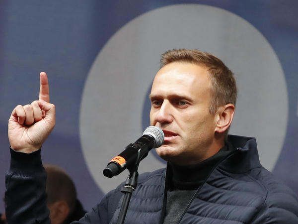 Russian opposition leader Alexei Navalny speaks during a Moscow rally in September to support political prisoners.