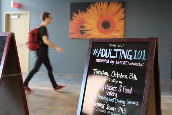 Kansas State University advertises its Adulting 101 workshops.