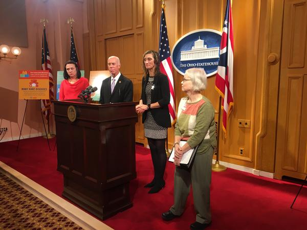 Kelly Maynard (left) listens to a question at a press conference with Rep. Tim Ginter (R-Salem), Rep. Randi Clites (D-Ravenna) and Charlene York of the Ohio Rare Action Network. Clites' 17 year old son has hemophilia, which affects about 1,200 Ohioans.