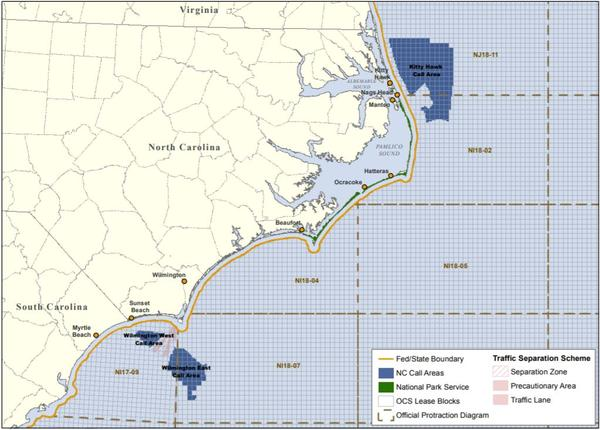 Federal officials have opened three areas off the N.C. coast for wind farm license. Avangrid Renewables has the license for the northern area, off the Outer Banks.