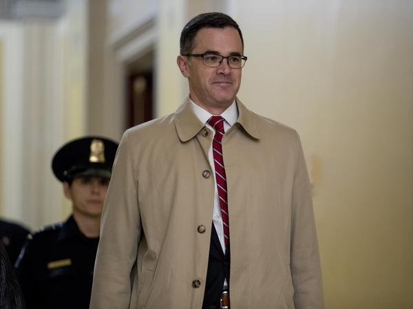 Tim Morrison, a former National Security Council official and adviser to President Trump, arrives Oct. 31 for a closed-door deposition on Capitol Hill in Washington.