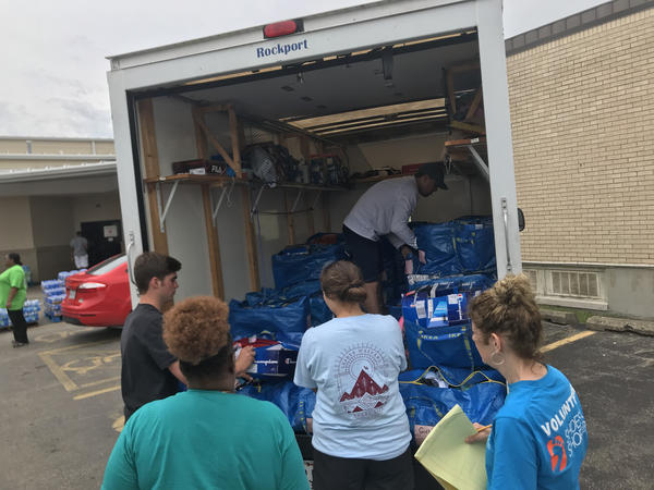 A truckload of shoes arrives at Corinthian Baptist Church, ready for donation just days after the Memorial Day tornadoes.