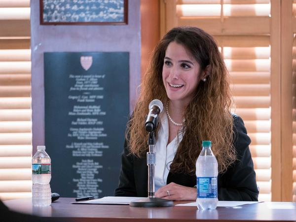 Sahar Nowrouzzadeh speaking at an event at Harvard Kennedy School's Belfer Center. A report released by the State Department's Inspector General on Thursday found that Nowrouzzadeh was improperly removed from her government post after articles attempting to smear her appeared on conservative websites.