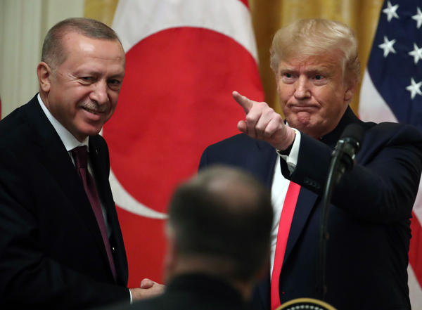 President Donald Trump and Turkish President Recep Tayyip Erdogan participate in a joint news conference. The two leaders had a meeting in the Oval Office before speaking to the media.