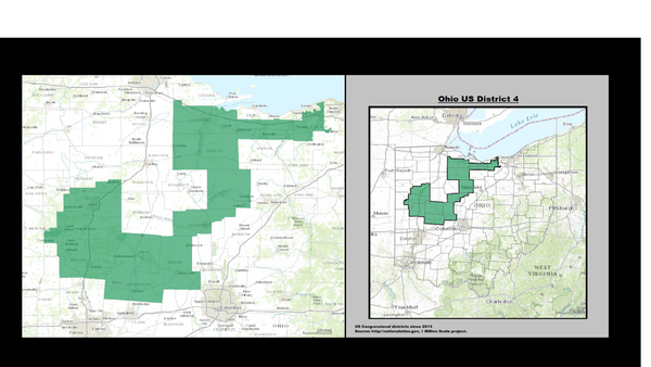 Ohio's 4th Congressional District, with its beak in Lorain  County and its tail feathers near the Indiana border.