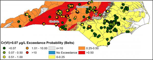 Map shows concentrations of hexavalent chromium in North Carolina, and where concentrations exceed the state standard of 0.07 micrograms per liter. Red areas are where it's likely to be in the highest concentration.