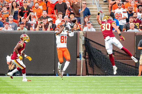 Browns receiver Rashard Higgins makes a catch during a preason game