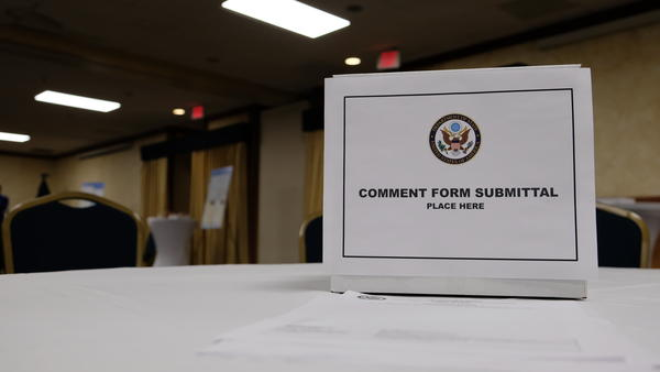 A comment box from the U.S. State Department for thoughts on an recently updated environmental draft for the Keystone XL pipeline on October 29, 2019.