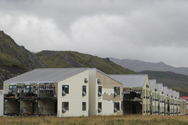 The military abandoned the Naval Air Facility Adak in 1997, and many of its buildings remain standing in disrepair. Some residents of the remote Alaska town hope a revived military interest in the Arctic will bring the military back.