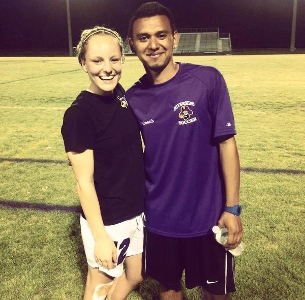 Santibanez with one of his players from his time coaching girls' high school soccer.