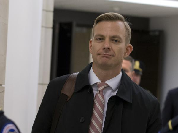 David Holmes, a career diplomat, leaves Capitol Hill on Nov. 15 after a deposition before congressional lawmakers as part of the House impeachment inquiry into President Trump.