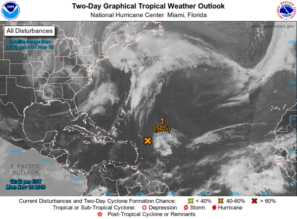 An area of low pressure east of the Leeward Islands has a 50 percent chance of becoming Tropical Storm Rebekah. NATIONAL HURRICANE CENTER