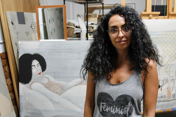 Hayv Kahraman in her Los Angeles studio.