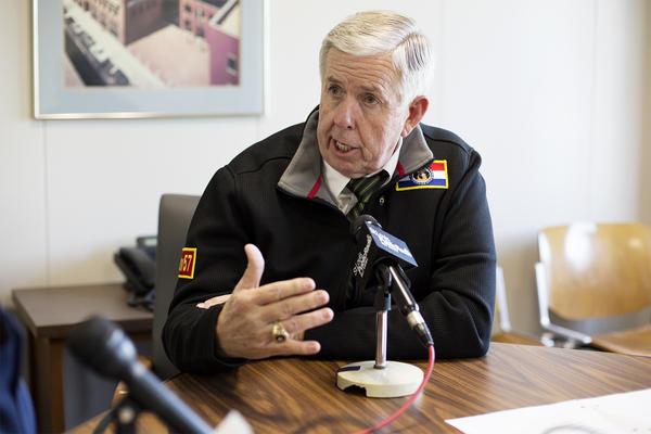 Missouri Gov. Mike Parson speaks with St. Louis Public Radio in downtown St. Louis last week.