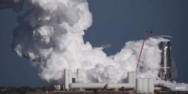 A screenshot from a YouTube video of SpaceX's Starship Mk1 prototype experiencing a failure during cryogenic pressure testing.