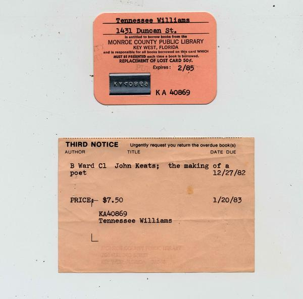 Playwright Tennessee Williams was a patron of the library, which still has his library card and an overdue notice.