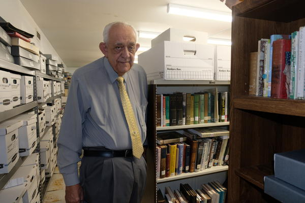 Monroe County historian Tom Hambright inside the library vault that houses historic and literary treasures.