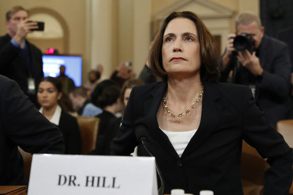 Former White House national security aide Fiona Hill, arrives to testify before the House Intelligence Committee on Capitol Hill in Washington, Thursday, Nov. 21, 2019, during a public impeachment hearing of President Trump's efforts to tie U.S. aid for Ukraine to investigations of his political opponents. (Alex Brandon/AP)