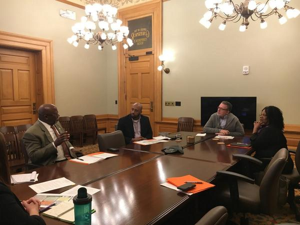 Kansas state Rep. Willie Dove, left, joins Kansas Black Farmers Association member Maurice Parks and executive director JohnElla Holmes in a meeting with Lt. Gov. Lynn Rogers, center.