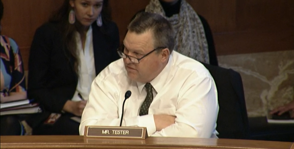 Montana Senator Jon Tester speaks about Savanna's Act at a U.S. Senate committee business meeting November 20, 2019.
