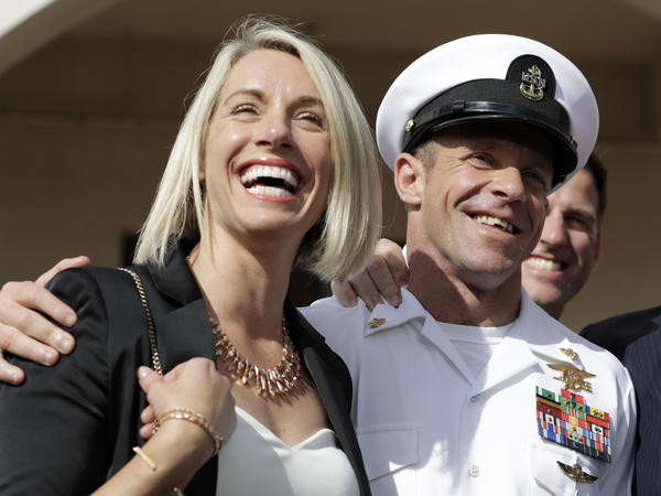 Special Operations Chief Edward Gallagher and his wife, Andrea Gallagher, after the Navy SEAL was acquitted of murder by a military court in San Diego on July 2.