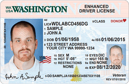 The optional Enhanced Driver License issued by Washington state meets federal Real ID standards.
