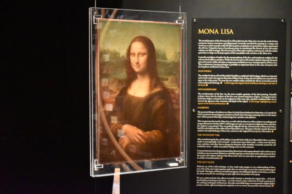 The Mona Lisa replica hanging in the Peoria Riverfront Museum.