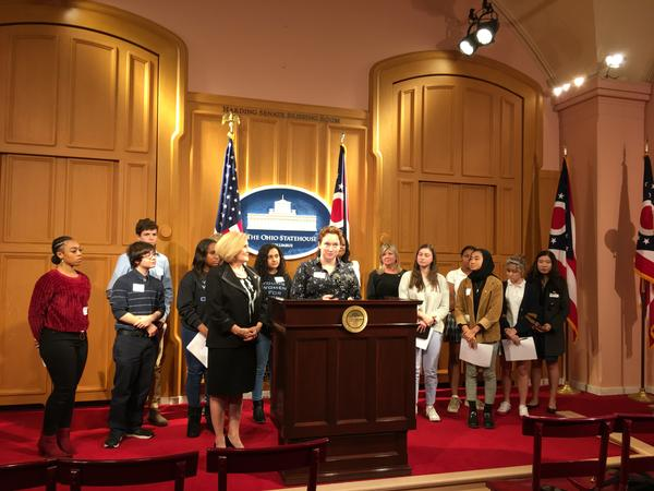 Students talk to reporters about need for the bill
