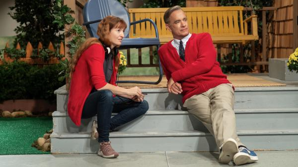 """""""The way the public feels about Tom Hanks has a similar quality to how we feel about Mister Rogers,"""" says director Marielle Heller. But she found that Hanks and Rogers had a very different energy. At the beginning, she tried to """"rein Tom's natural buoyancy back and settle him into a kind of zenlike state.""""<em></em>"""