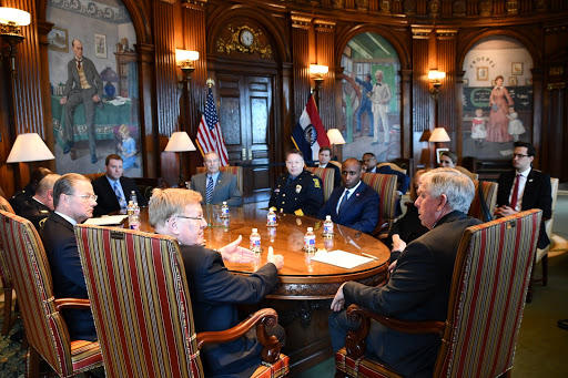 Gov. Mike Parson met with the mayors of St. Louis, Kansas City, Springfield and Columbia on Monday to again talk about violent crime in their cities.