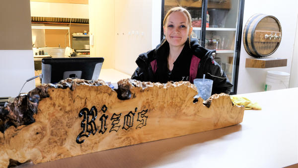 Kayla Campbell, a waitress at Rizo's.