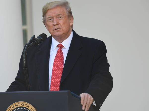 President Trump spoke before pardoning the National Thanksgiving Turkey during a ceremony in the Rose Garden on Tuesday. Trump has until 6 p.m. on Dec. 1 to notify the House Judiciary Committee of any plans to participate in the upcoming public hearing on impeachment.