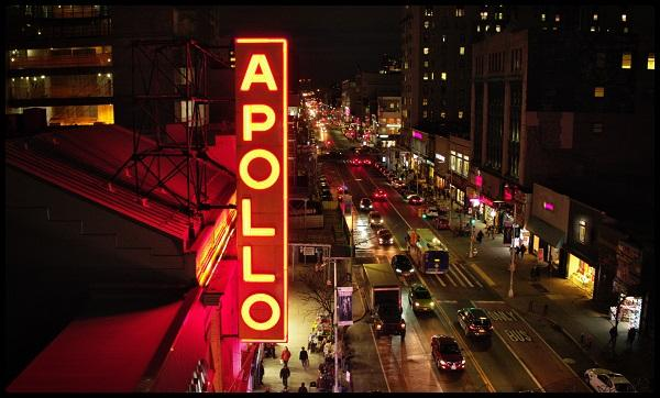 The Apollo marquee outside the historic theater in Harlem. A new HBO documentary traces the theater from its inception to today.