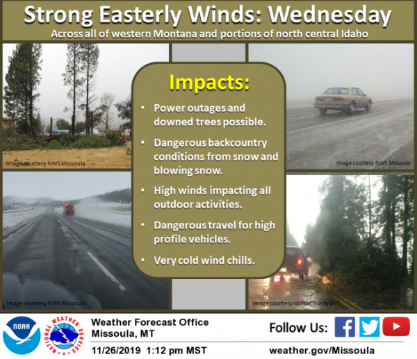 A prolonged period of strong winds will affect western Montana, and to a lesser extent north central Idaho, beginning late Tuesday night and lasting through Wednesday.