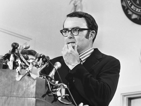 Then-acting FBI Director William D. Ruckelshaus pauses during a May 1973 news conference in Washington, D.C. Ruckelshaus died Wednesday at the age of 87.