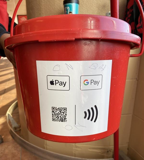 Starting this year, anyone who wants to donate to the Salvation Army's Red Kettle Ca,paign can donate with their phones