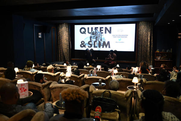 """Marlon James and Daniel Kaluuya speak during A Special Screening of """"Queen & Slim."""" (Bryan Bedder/Getty Images for Universal)"""