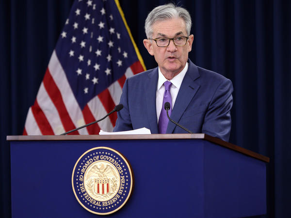 """Federal Reserve Chairman Jerome Powell said the Fed cut rates to """"help keep the U.S. economy strong in the face of some notable developments and to provide insurance against ongoing risks."""""""
