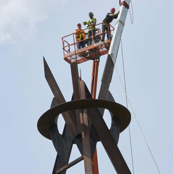 Installation of Mark di Suvero, <em>E=MC2</em> (1996-97), at Storm King Art Center, 2019.