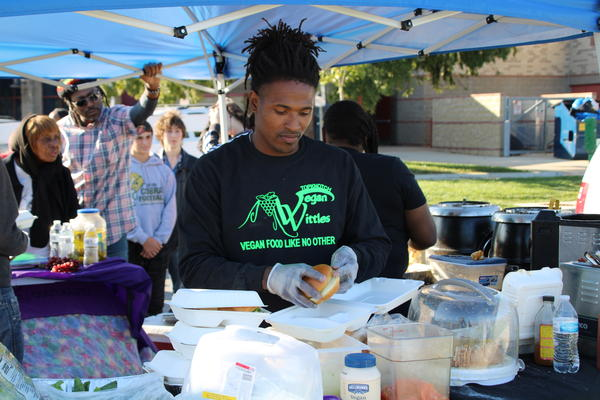 At a vegetarian and vegan festival catering to black Kansas City-area residents, vendors cook up meatless meals.