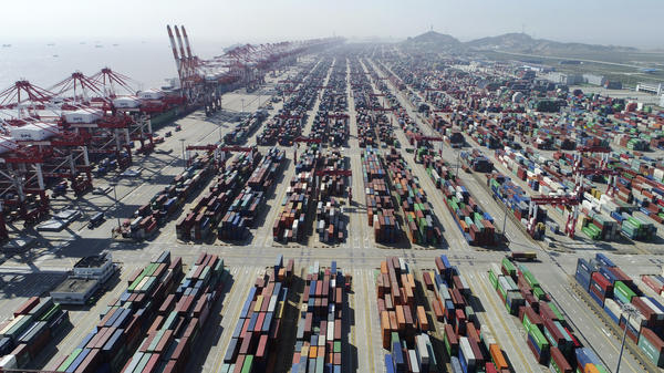 A container dock of Yangshan Port in Shanghai. About 99% of the shoes sold in America are made overseas, with China being the largest manufacturer by far.