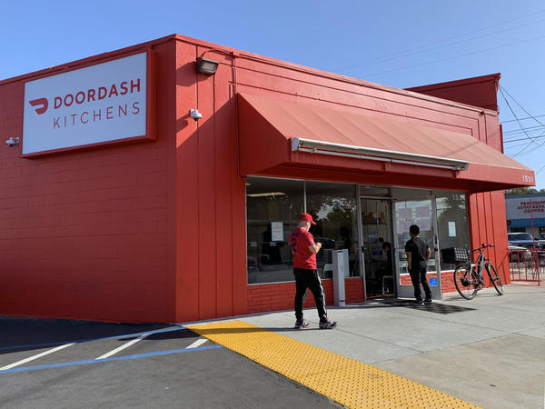 """DoorDash's delivery restaurant in Redwood City, near San Francisco, is among an increasing number of """"ghost kitchens"""" and menus that exist solely in smartphone apps."""